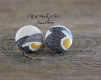 19mm Grey, White & Yellow Fabric Button Stud Earrings