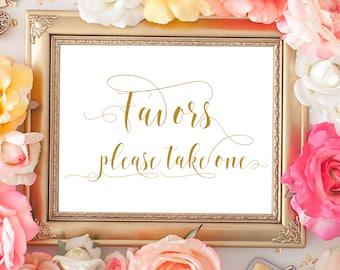 SALE 70% Favors wedding printable gold sign. Wedding digital favors gold sign, digital signage. Bridal shower, baby shower favors sign