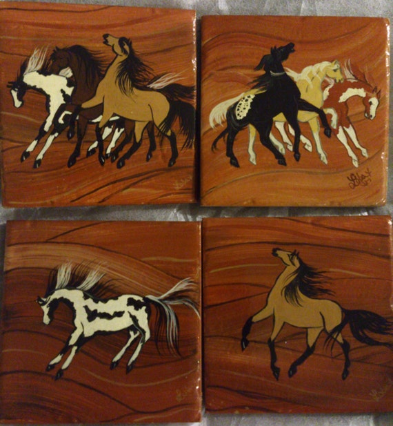 Hand Painted Horse Coasters Home Decor by LorisArtisanAccesrys