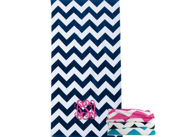 Monogrammed Towel - Beach Towel - Monogrammed Beach Towel - Navy Chevron - Personalized Towel - Embroidered Beach Towel