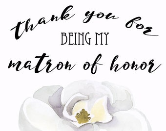 Thank you card to Matron of Honor