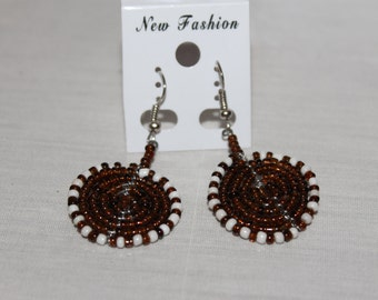 Brown and White Disc Shaped Beaded Earrings