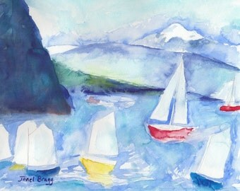 Original Artwork, Watercolor Painting, Anacortes Sailboats, 11x14, Nursery, Child's Room