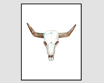 Animal Skull Print, Animal Skull, Bull Skull Print, skull wall art, bull skull art print, skull printable, instant download, skull painting