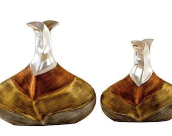 Vase Aluminium Leaf Style ( Set of 2 )