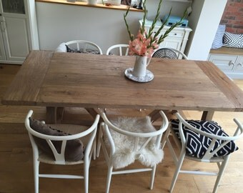 solid Reclaimed Oak Heavily Distressed Dining table