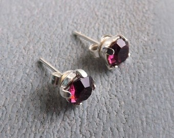 "Silver 925 6 mm Swarovski earrings ""amethyst"" and"