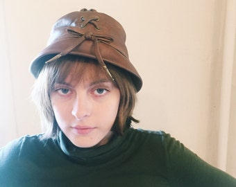 Vintage YSL Brown Leather Cloche Hat