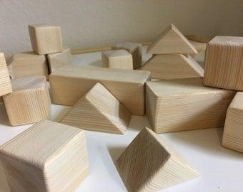 Wooden Building Blocks 32-Pieces
