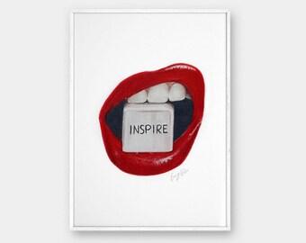 Printable wall art, Pencil Lips drawing, Art prints, Fine art prints, Modern Wall Art, Prints illustrations, Printable artwork, Wall decor,