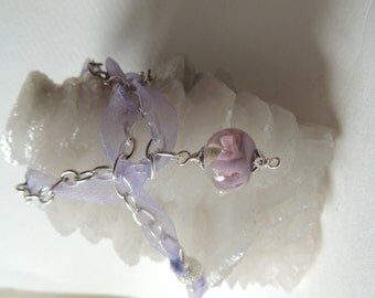 Lilac necklace with handmade lampworked focal bead