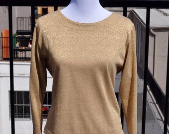 Vintage 1980s Bob Mackie Gold Sweater sz L