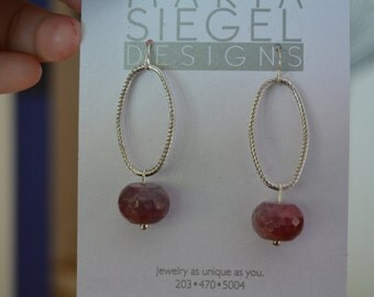 Magenta Faceted Drop Earrings