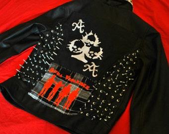Woman's Jacket, Leather Jacket, Punk Rock Coat, Steam Punk Jacket, Gothic Cloth, Skinhead Jacket, Black Leather Jacket, Vintage Jacket