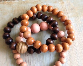 Wood bead bracelet trio
