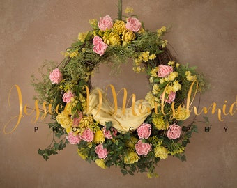 NEWBORN DIGITAL BACKDROP: Pink and Yellow Textured Floral Hanging Nest