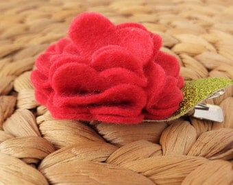 Felt Bloom Hair clip - Strawberry Red