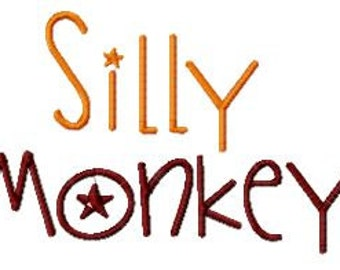 Buy 2, Get 1 Free, Silly Monkey Embroidery Font, Instant Download, PES format