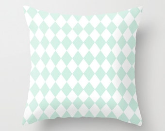 pastel blue and white harlequin pillow cover - modern cushion cover