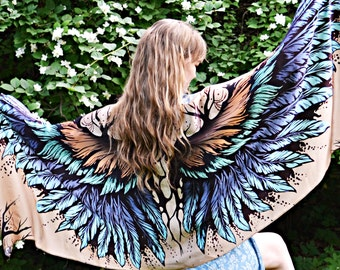 A silk scarf turquoise, scarf Wings Shawl, Abstract Scarf Large, Pareo Feather, Women Shawl wings, elven clothes, Printed, Mother's Day Gift