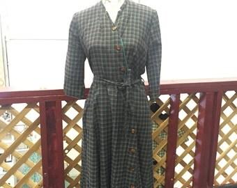 Vintage 1950s Plaid Dress
