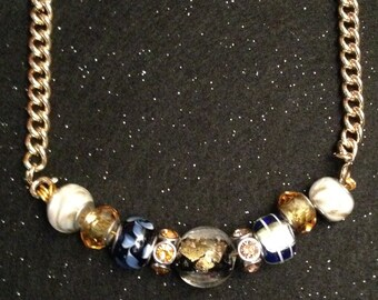 Blue and Gold - Beaded necklace