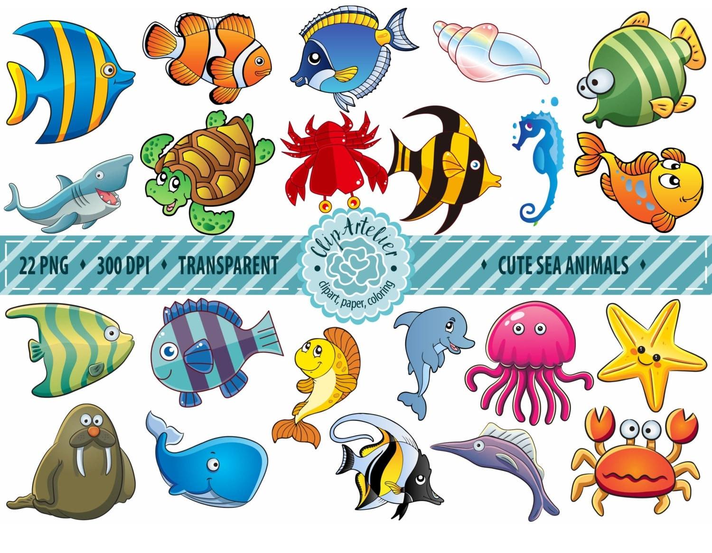50% OFF SALE Sea animals clipart Fish Clipart Ocean ...