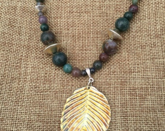 Jasper Beads with gold tone leaf necklace