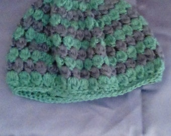 Blue and Jade Crocheted Hat