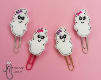 Halloween ghost paperclip / planner clip, girl ghost, ghost bookmark, ghost with bow, ghost paper clip, girlie ghoul, girlie ghost planner