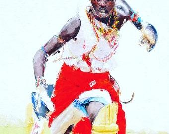 Maasai warriors cricket Kenya Africa 2 (framed digital art print)