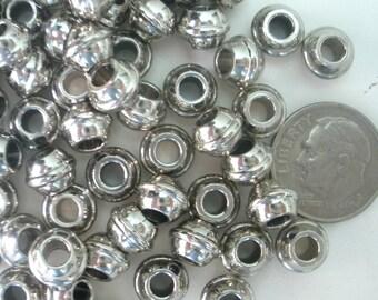 10 Greek Mykonos Silver Spacer Barrel Bead/Industrial Look/ Bell Spacer Greek Beads B106