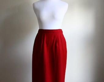 80s Deep Red Midi Pencil Skirt // Vintage Oxblood Midi Skirt // Vintage High Waist Pencil Skirt