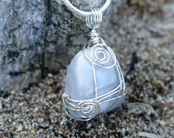 Polished Blue Gemstone Silver Wire Wrapped Pendant Necklace, Unique Minimalist Natured Inspired Mother Earth One of a Kind Gift for Her