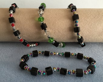 Cubed bead and crystal bracelet