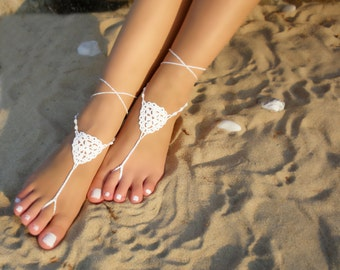 White Bridal Barefoot Sandals  crochet barefoot sandals Bridal Foot jewelry Beach wedding barefoot sandals Lace shoes Beach wedding sandals
