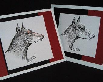 Two Doberman Pinscher blank handmade cards