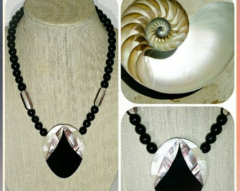 Vintage 70's or 80's Mother of Pearl Black Lucite & Wood Statement Necklace