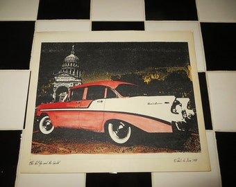 Watercolor:  1956 Chevrolet Belair with Austin, Texas capitol in background
