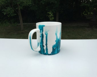 Alcohol Inks: Blue Dripped Mug
