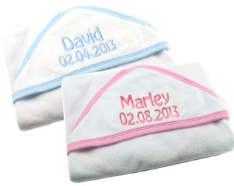 Personalised Embroidered Baby Hooded Towel baby Perfect Christening Gift ANY NAME!
