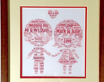 Happy couple word art frame