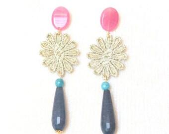 Earrings gold Guipure Molí