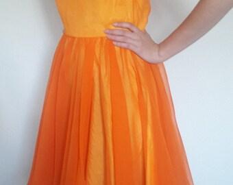 1970s Orange Party Dress
