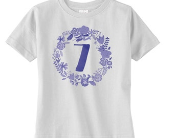 Floral Boho Girls Seventh Birthday Shirt - Girls Birthday Gift - Girls 7th Birthday - Bohemian Girls Birthday Shirt - Birthday Party Tshirt