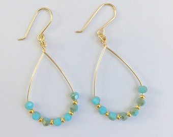 SkyBule and Rainbow AB Crystal Gold Hoop Earring