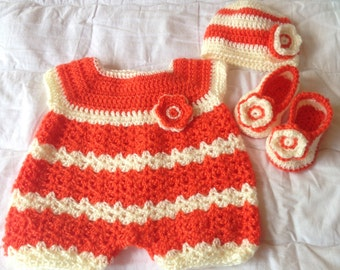 Crochet Romper, Beanie and Booties set in Orange and Cream