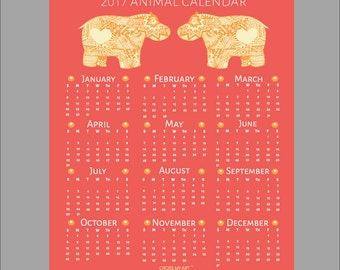 2017 Tribal Print Animal Calendar – Hippo
