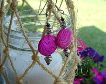 Hot Pink zebra style earrings