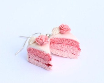 strawberry ombre cake earrings / food jewellery / fimo clay